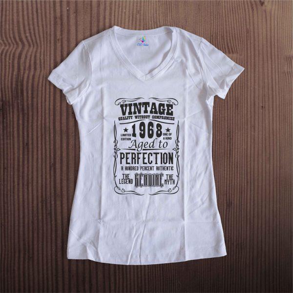 A002 Vintage Year Dama Alb 600x600 Tricou Vintage Year tricouri-personalizate, tricouri-aniversare