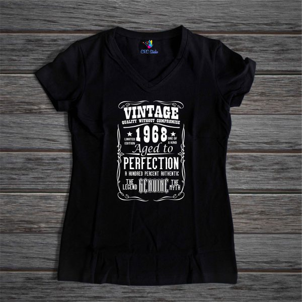 A002 Vintage Year Dama Negru 600x600 Tricou Vintage Year tricouri-personalizate, tricouri-aniversare