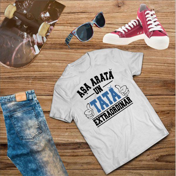 B003 Asa arata un Tata Alb 600x600 Tricou Așa arată un Tată Extraordinar tricouri-personalizate, tricouri-barbati