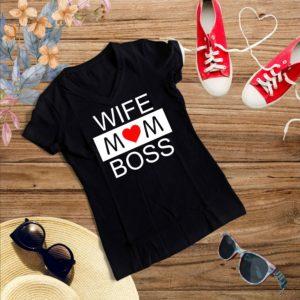 D009 Wife Mom Boss Negru 300x300 Tricou Wife, Mom Boss tricouri-personalizate, tricouri-dama