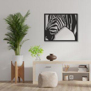 Tablou Zebra negru 300x300 Tablou lemn Zebra tablouri-decupate-din-lemn