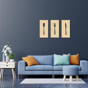 Tablou tacamuri bucatarie natur 300x300 Tablou lemn Furculita - Lingura - Cutit tablouri-decupate-din-lemn